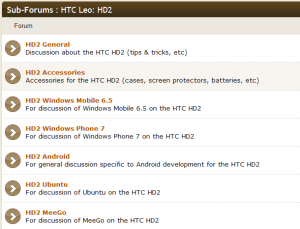 hd2 development forum list