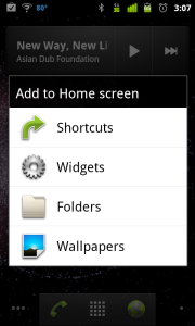 Home screen menu