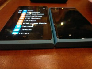 Lumia 900 next to N9